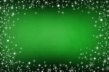 Green canvas background with snow and stars