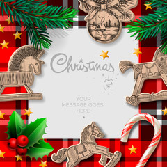 Merry Christmas template with rocking toys
