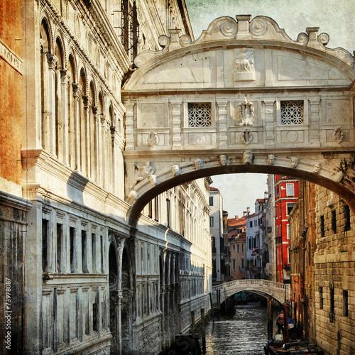 Fototapeta Venice - bridge of sigh, retro picture