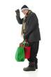 Waving Senior Christmas Shopper