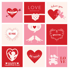 Set of Love Cards for Valentine's Day - Hearts, Frames, Cupids