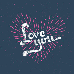 Grunge Love Card - with sunbirst - in vector
