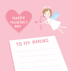 Valentine's Day Card - Cupid Angel with Heart