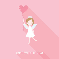 Valentine's Day Card - Cupid Angel with Heart - in vector