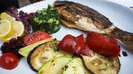 grilled fish with vegetables