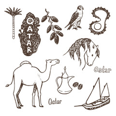 Qatar country. Hand drawn icons collection.