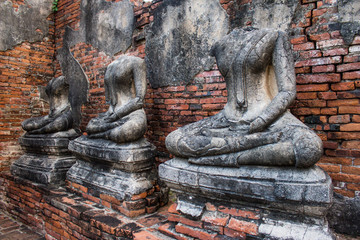 Headless damaged buddha in the ancient ayutthaya temple
