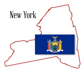 New York State Map and Flag