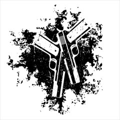 guns on the grunge background t-shirt design vector illustration