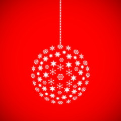 Christmas ball on a red background