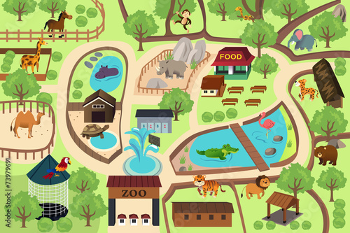 Map of a zoo park - 73979691