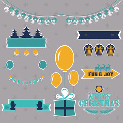 Set of Christmas shapes and labels in retro style vector