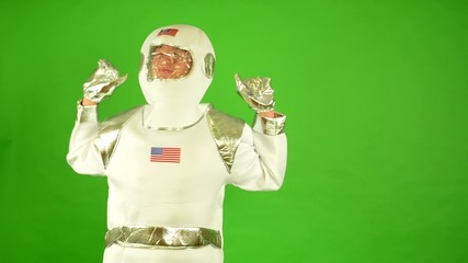 astronaut wakes up late - green screen