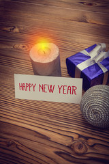 happy new year greeting card with xmas decoration