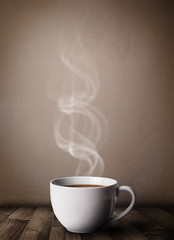 Coffee cup with abstract white steam
