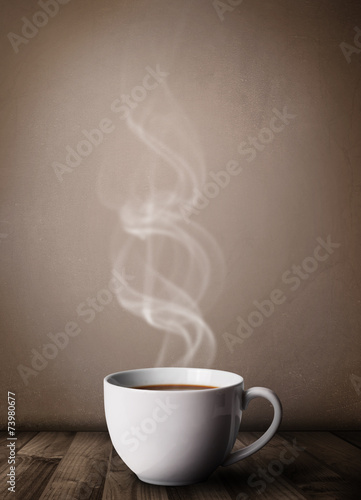 Foto op Canvas Koffie Coffee cup with abstract white steam