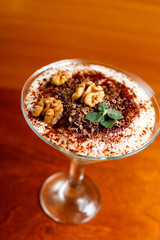 tiramisu with walnut in glass