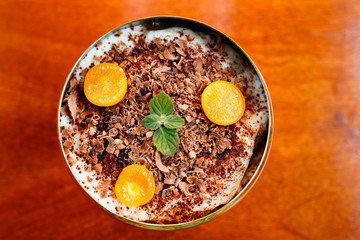 tiramisu in cup, with physalis