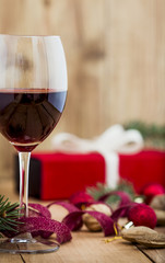 Red Wine and Christmas Arrangement