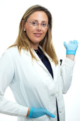 young doctor woman gesturing with his hands invitation