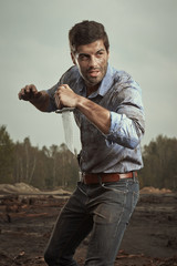 Fighter with survival knife