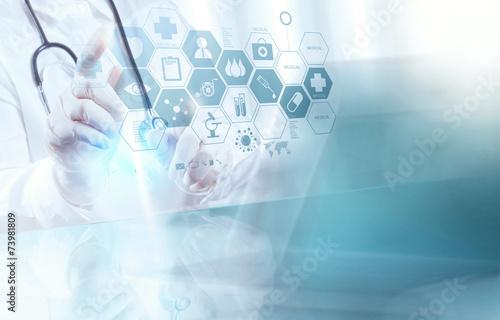 Leinwandbild Motiv smart medical doctor working with operating room as concept