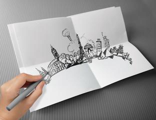 hand drawn traveling around the world