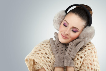 Winter woman with ear muff