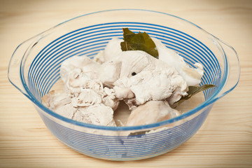 boiled chicken in a dish