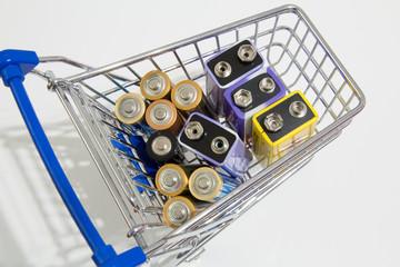 Batterien im Einkaufswagen