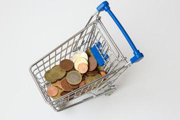 Geld im Enkaufswagen