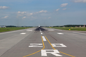 Passenger airliner on the runway