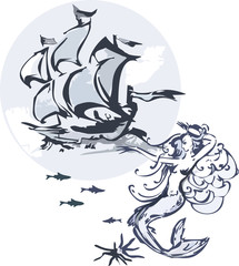 Water nymph and sailing vessel