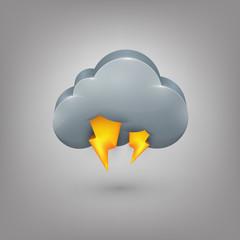 Icon weather. Cloud lightning