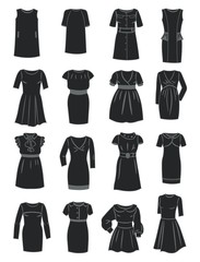 Silhouettes of office dresses