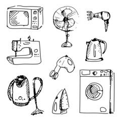 Home appliances in vector. Vintage illustration.
