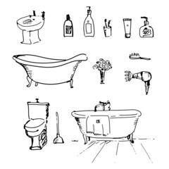 Bathroom set in vector. Vintage illustration.