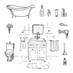 Bathroom set in vector. Vintage illustration.