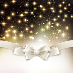 Holiday light Christmas background with white silk bow