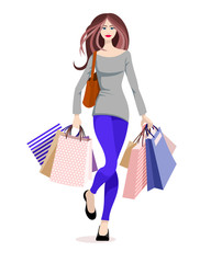 Illustration of a beautiful girl shopping