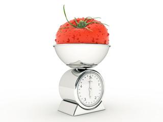 kitchen scale with giant tomato
