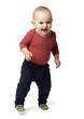 cheerful  boy goes forward