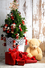 Vintage Christmas Tree with Gifts