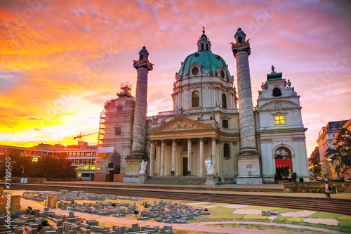 St. Charles's Church (Karlskirche) in Vienna, Austria - 73985670
