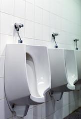 Row of urinals in public restroom.