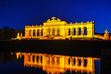 Gloriette Schonbrunn in Vienna at sunset