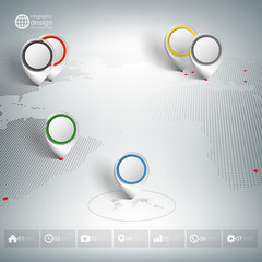 World map with pointer marks. Infographic for business design