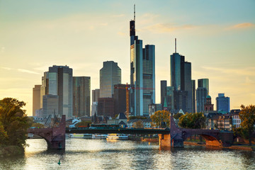 Frankfurt cityscape at sunset