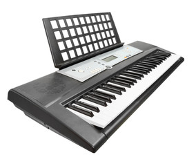 Digital piano synthesizer isolated on a white background.