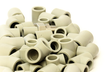 A lot of combined fittings for plastic pipes